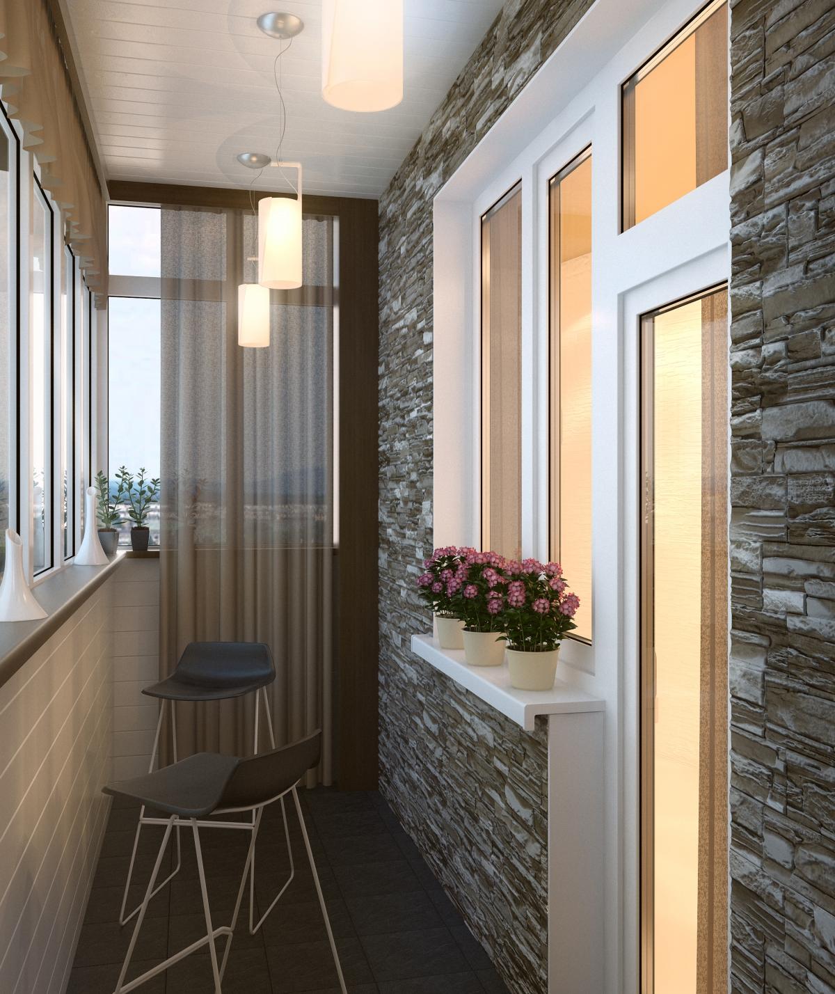 Дизайн узких балконов с